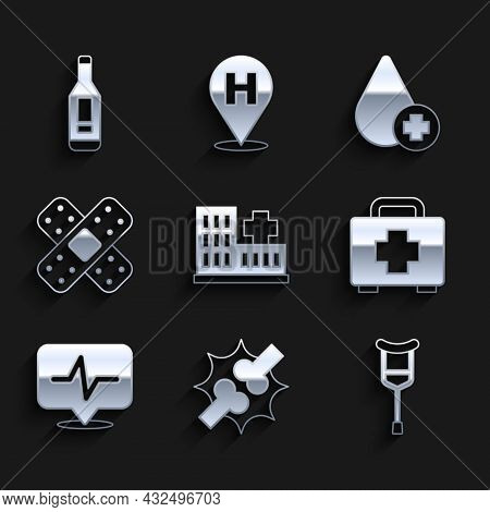 Set Hospital Building, Joint Pain, Knee Pain, Crutch Or Crutches, First Aid Kit, Heart Rate, Crossed