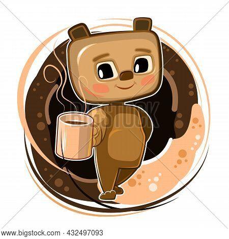 Little Teddy Bear Coffee. Cartoon Flat Style. Young Animal Cub With A Mug. A Cute Baby Offers A Hot