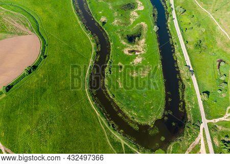 Aerial View Of The Elongated Ogublyanka Lake Bend, Kaluzhskiy Region, Russia. Beautiful River Landsc