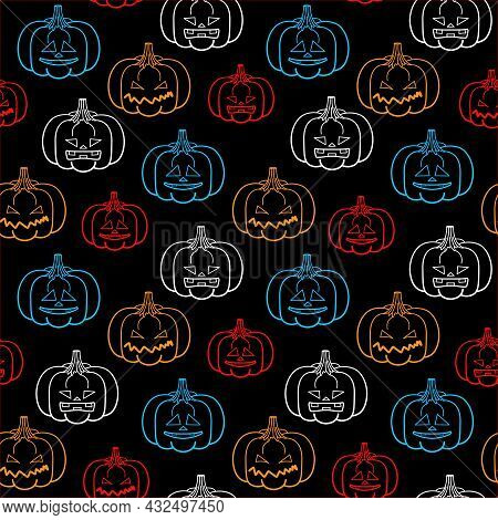 Halloween Seamless Pattern, Vector. Print From Colored Contour Pumpkins On A Black Background.