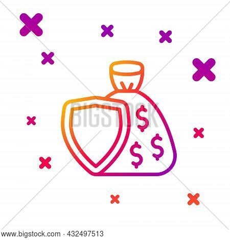 Color Line Shield And Money Bag With Dollar Symbol Icon Isolated On White Background. Security Shiel