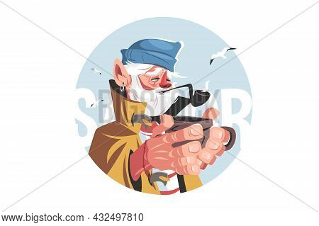 Fisherman With Hot Drink Vector Illustration. Old Man In Hat Smoking Pipe Flat Style. Seagulls Fryin