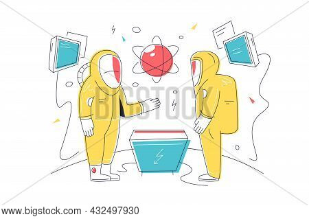Future Modern Science Laboratory For Tests Vector Illustration. Scientists In Laboratory Conduct Exp