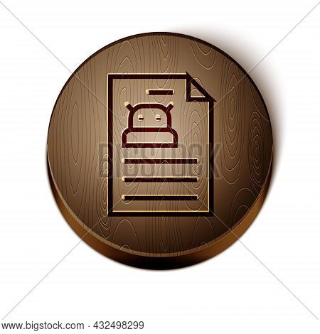 Brown Line Technical Specification Icon Isolated On White Background. Technical Support Check List,
