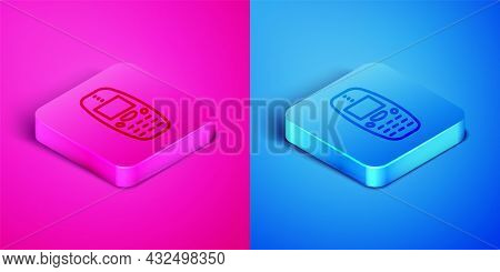 Isometric Line Old Vintage Keypad Mobile Phone Icon Isolated On Pink And Blue Background. Retro Cell