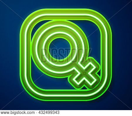 Glowing Neon Line Female Gender Symbol Icon Isolated On Blue Background. Venus Symbol. The Symbol Fo