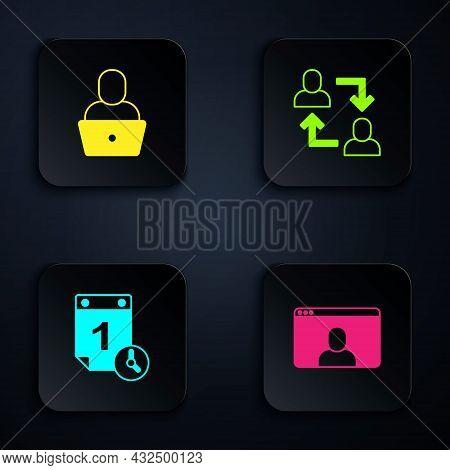 Set Video Chat Conference, Freelancer, Time Management And Project Team Base. Black Square Button. V