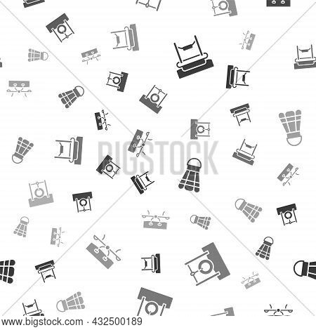 Set Bungee, Car Tire Hanging On Rope, Badminton Shuttlecock And Seesaw On Seamless Pattern. Vector