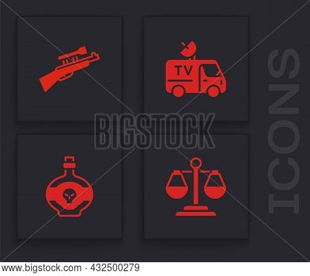 Set Scales Of Justice, Sniper Rifle With Scope, Tv News Car And Poison In Bottle Icon. Vector
