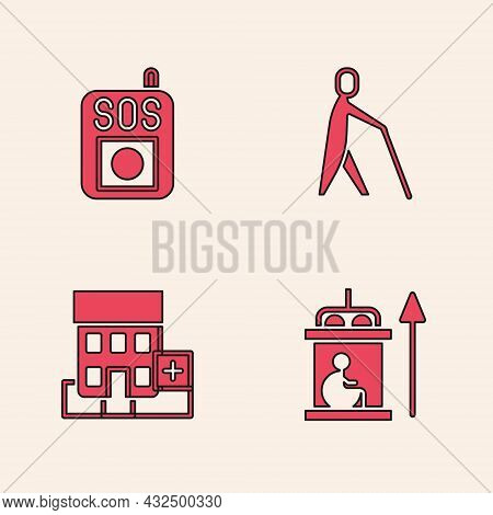 Set Elevator For Disabled, Press The Sos Button, Blind Human Holding Stick And Medical Hospital Buil