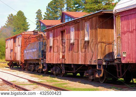 September 8, 2021 In Hill City, Sd:  Vintage Wooden Rail Cars Taken At The Hill City, Sd Railroad Mu