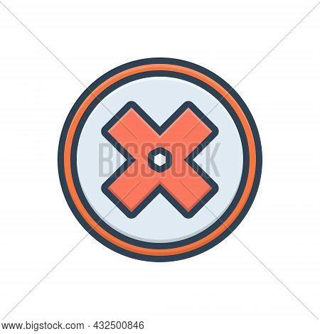 Color Illustration Icon For Failure Fiasco Hoodoo Multiplied Cross Delete Mathematical Sign Mark Geo
