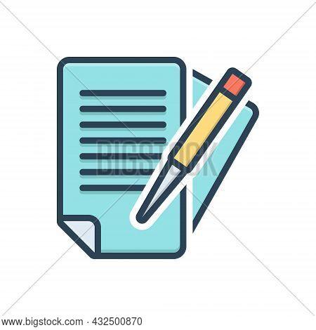 Color Illustration Icon For Paperwork Bureaucracy Documents Overwork Education Pen