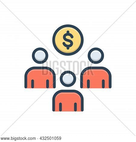 Color Illustration Icon For Crowdfunding Sponsor-investment Sponsorship Strategic Income Advertiseme