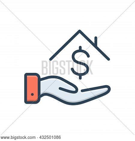 Color Illustration Icon For Loan-money Borrower Loan Bribery Lender House Installment Investment