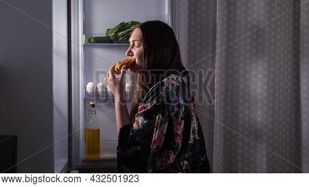 Silhouette Of Hungry Dieting Woman In Elegant Gown Opening Door Of Refrigerator To Eat Delicious Ecl