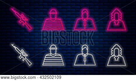 Set Line Prisoner, Lawyer, Attorney, Jurist, Sniper Rifle With Scope And Judge. Glowing Neon Icon On
