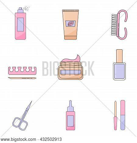 Various Manicure Accessories, Equipment, Tools. Nail File, Nail Scissors, Tweezers, Nail Polish, Han
