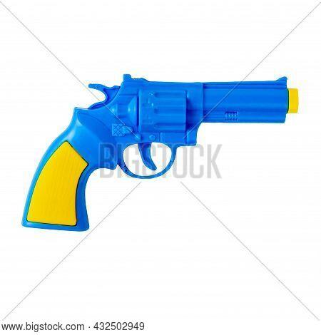Blue Pistol. Pistol Toy. Childrens Pistol On A White Background. Isolate.