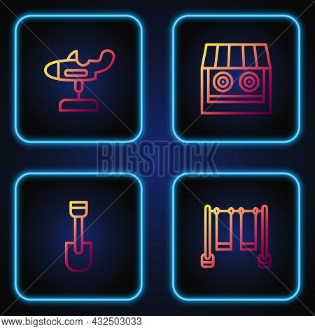 Set Line Double Swing, Shovel Toy, Swing Plane And Shooting Gallery. Gradient Color Icons. Vector