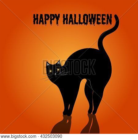 Happy Halloween. Halloween Card With Black Cat With Lighted Eyes On Orange Background.  Vector Illus