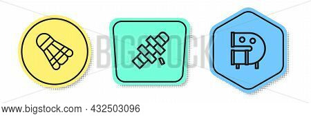 Set Line Badminton Shuttlecock, Hopscotch And Kid Playground Slide Pipe. Colored Shapes. Vector