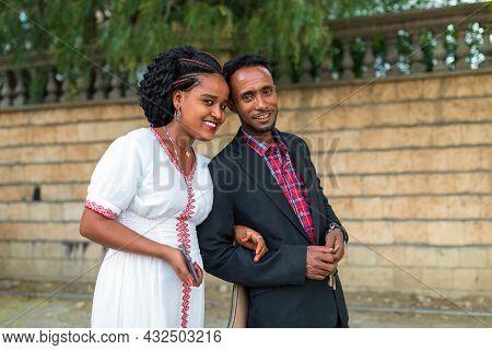 Mekele, Ethiopia - April 28, 2019: Ethiopian Beautiful Woman With Traditional Costume With Husband O