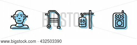 Set Line Iv Bag, Deaf, Walker And Press The Sos Button Icon. Vector