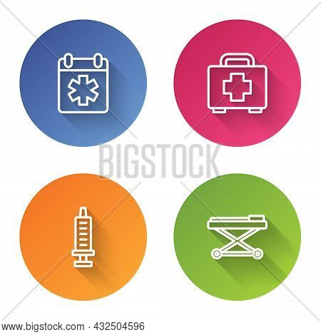 Set Line Doctor Appointment, First Aid Kit, Syringe And Stretcher. Color Circle Button. Vector