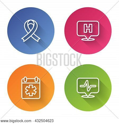 Set Line Awareness Ribbon, Location Hospital, Doctor Appointment And Heart Rate. Color Circle Button