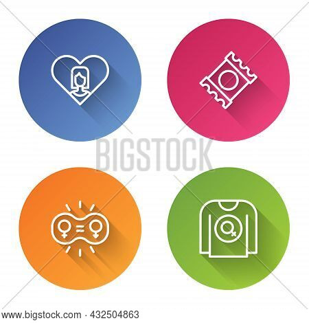 Set Line Heart With Female, Condom In Package, Gender Equality And Feminist Shirt. Color Circle Butt