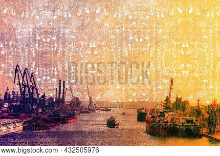 Beautiful Summer Sunset Over The Seaport. Ships And Barges Moored On Both Sides Of The Dnieper River