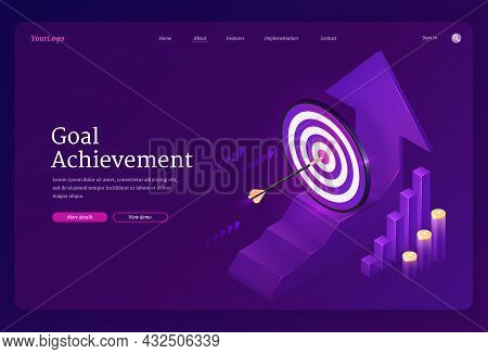 Goal Achievement Isometric Landing Page. Business Target Strategy, Arrow Stuck In Center Of Shooting