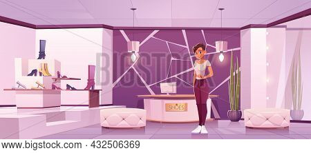 Shoes Store With Girl Seller And Women Footwear On Shelves. Vector Cartoon Illustration Of Boutique