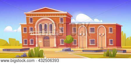 Building Exterior Of University, College, High School Or Public Library. Vector Cartoon Illustration