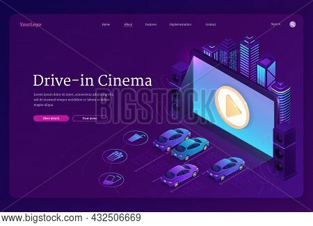 Drive-in Cinema Banner. Outdoor Movie Theater With Cars On Open Air Parking. Vector Landing Page Of