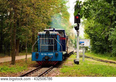 Kyiv, Ukraine-august 22, 2021:close-up View Of Narrow-guage Train In The Park. Diesel Locomotive Tu7