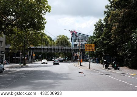 Berlin, Germany, August 29, 2021, View Of The Elevated Train At Gitschiner Strasse And The Prinzentr