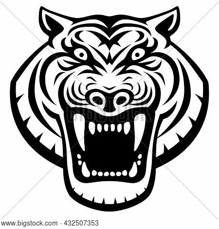 Roaring Tiger Head Front View Logo Design Template Icon