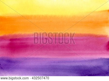 Watercolor Paint Abstract Multicolored Gradient Background. Yellow, Orange, Red And Purple Horizonta