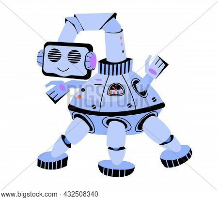 Cute Friendly Toy Robot Cartoon Flat Vector Illustration Isolated On White Background. Kids Electron