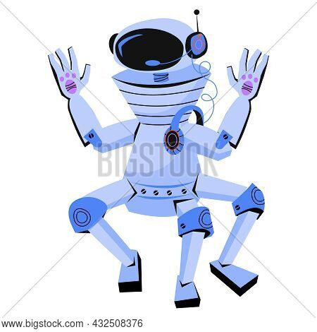 Funny Friendly Toy Robot Waving Hands, Cartoon Flat Vector Illustration Isolated On White Background