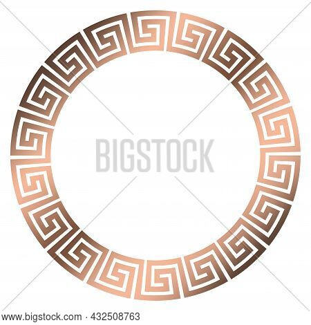 Maze Ring With Meander Look In Bronze On Isolated White Background.