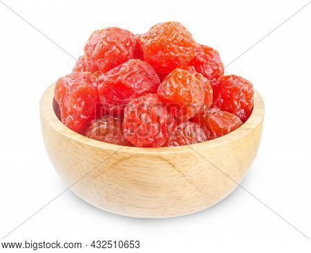 Dried Red Prunes Fruits (preserved Fruits Chinese Plum) In Wooden Bowl Isolated On White Background,