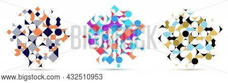 Abstract Geometric Backgrounds Set Isolated Over White, Vector Design Elements In Retro Style Of 70S