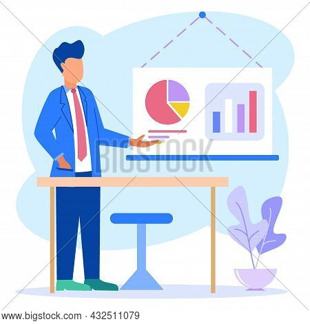 Businessmen In Formal Suits Stand Near The Flip Chart And Point To The Charts And Diagrams. Creative