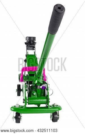 Green Hydraulic Car Jack Isolated On White Background, 2 Ton Capacity, Lifted Up