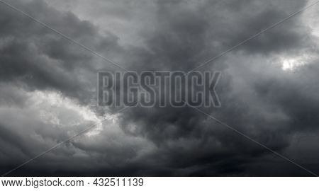 Dramatic Grey Storm Clouds Background Upward View From Ground.