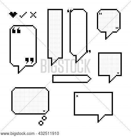 Collection Set Of Retro Game 8 Bit Pixel Speech Bubble Balloon Black And White Color, Flat Design Ve