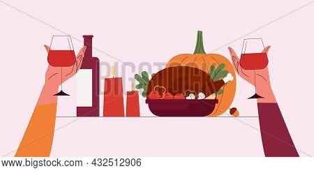 Happy Thanksgiving.vector Cartoon Illustration Of Thanksgiving Day.autumn Dinner Roast Turkey, Wine,